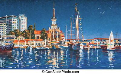 lona, claro, sochi, yates, puerto marítimo, day., plano de fondo, painting:, oil.