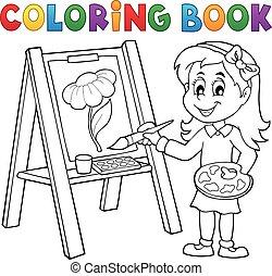 lona, coloração, quadro, livro, menina