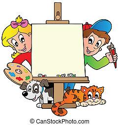lona, crianças, quadro, caricatura