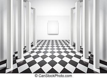 lona, em branco, colunas, corredor