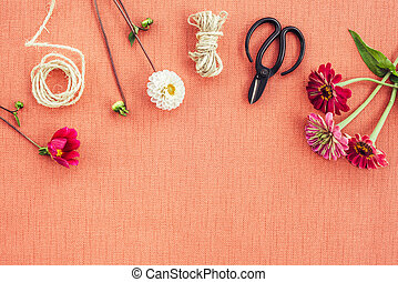 lona, fundo, pêssego, workspace, floricultor, colorido