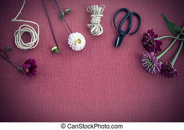 lona, fundo, roxo, escuro, workspace, floricultor