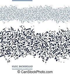lona, one-colored, seamless, s, vector, cinta de la música,...