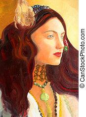 lona, pintura óleo, detalhe