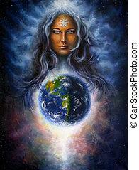 lona, pintura óleo, deusa, mulher
