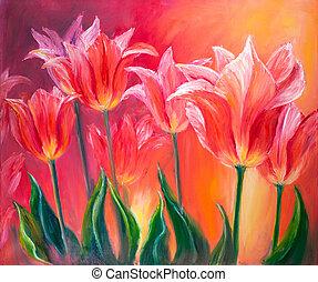 lona, pintura al óleo, tulipanes