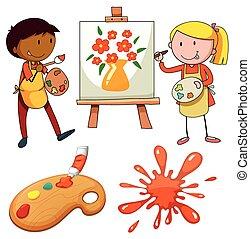 lona, pintura, artistas