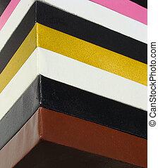 lona, quadrado, empilhado, cores brilhantes, pintor