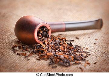 lona, tubulação tabaco, linho, fundo, fumar