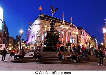 londýn, -, jun, 8:, slavný, rozcestí, piccadilly náměstí,...