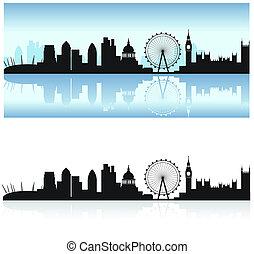 londýn, městská silueta, a, odraz