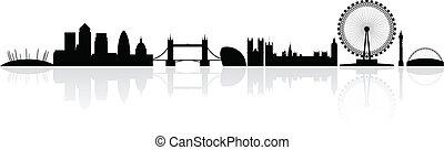 londýn, městská silueta silhouette