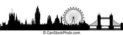 londýn, městská silueta, vektor, -