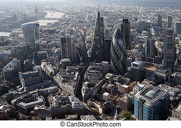 londen, boven, aanzicht, skyline, stad
