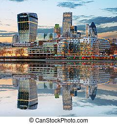 londen, engeland, skylines, uk, schemering