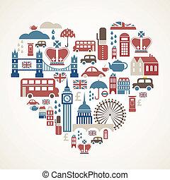 londen, liefde, -, hart, met, velen, vector, iconen