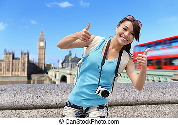 londen, reizen, vrouw, vrolijke