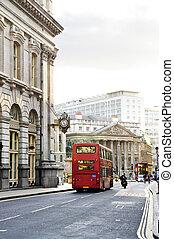 londen, straat, met, aanzicht, van, koninklijke uitwisseling, gebouw