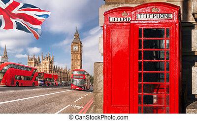 londen, symbolen, met, de big ben, dubbele decker bus, en, rode telefoon, kramen, in, engeland, uk