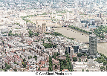 London aerial view of Westminster area and Thames river
