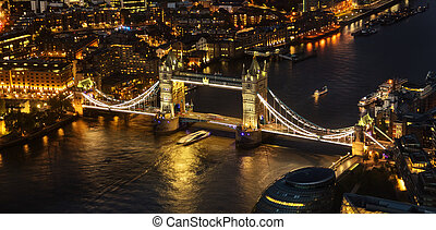 London aerial view with Tower Bridge at night