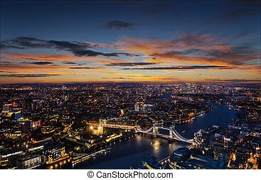 London aerial view with Tower Bridge in sunset