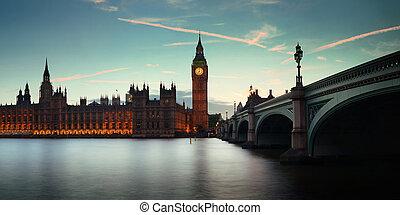 london, an, dämmerung