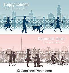 London And Paris Banners Set