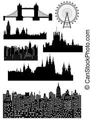 London and Prague - vector - Famous architectural monuments...