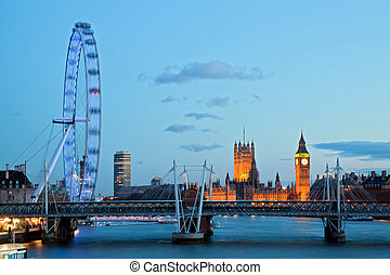 London Eye - LONDON - April 15: London Eye with Big ben, on...