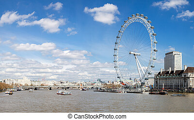Panorama of London Eye - LONDON - April 6: Panorama of...