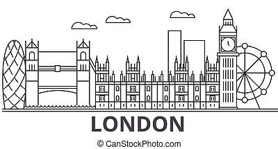 London architecture line skyline illustration. Linear vector...