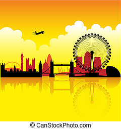 London at dusk - London skyline silhouette at dusk with...