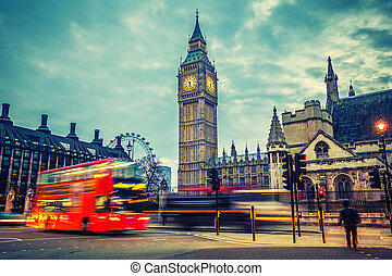 London at early morning - Double-decker bus in night London