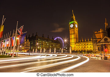 London at night - Traffic in night London, UK