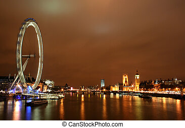 London at Night with Big Ben and London Eye