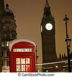 london, bódé, telefon, ben, nagy