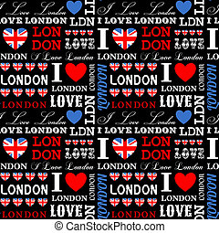 London Background - I Love London seamless pattern.