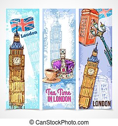London Banner Set - London vertical banner set with sketch...
