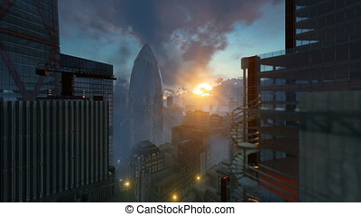 London beautiful sunrise over The Gherkin, Swiss Reinsurance...