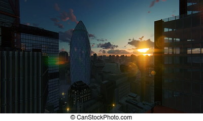 London beautiful sunset over The Gherkin, Swiss Reinsurance...
