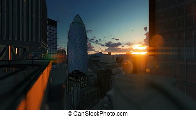 London beautiful timelapse sunrise over The Gherkin, Swiss...