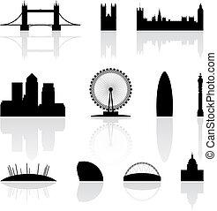 london, berömd, milstolpar