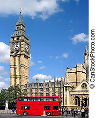 London Big Ben - Big Ben in London, blue sky, London red bus...
