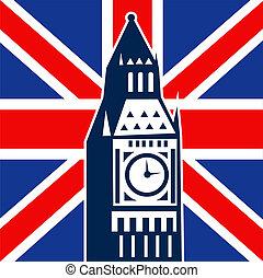 London Big Ben British Union Jack flag - illustration of a...