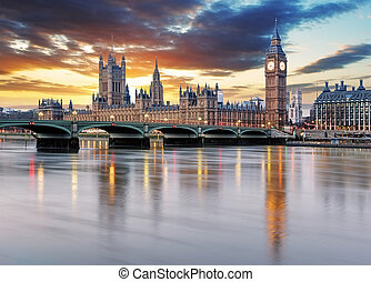 london, -, big ben, und, häuser parlaments, vereinigtes königreich
