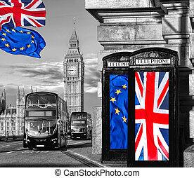 london, brexit, ben, bås, förening, stor, england, brittisk, vistelse, ringa, flagga, uk, mot, europe, eller, lämna
