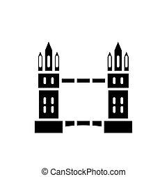 London bridge black icon concept. London bridge flat vector...