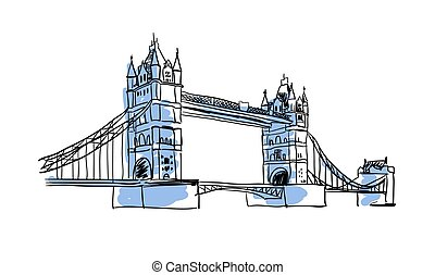 London Bridge hand drawn isolated icon