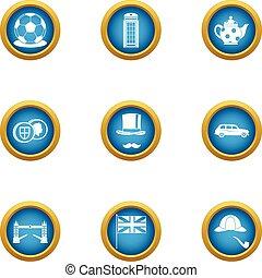 London bridge icons set, flat style - London bridge icons...